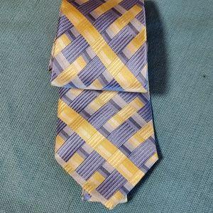 Stafford Essentials yellow blue 100% silk tie